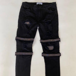 DNA-Strap Sapphire Crystal Jeans-Black