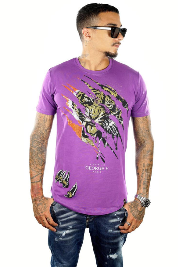 George V Pairs-Men's Tiger Tee-Purple-GV2057