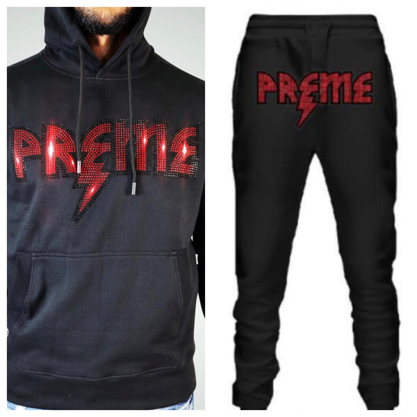 Preme-Studded Logo Jogging Set-Black/Red