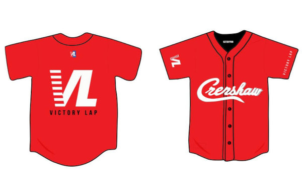 Headgear-Nipsey Hussle Victory Lab Baseball Jersey-Red