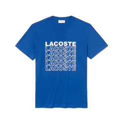 LaCoste-Men's Crew Neck Crocodile Lettering Cotton Jersey T-shirt-Navy Blue • XOU-TH4237