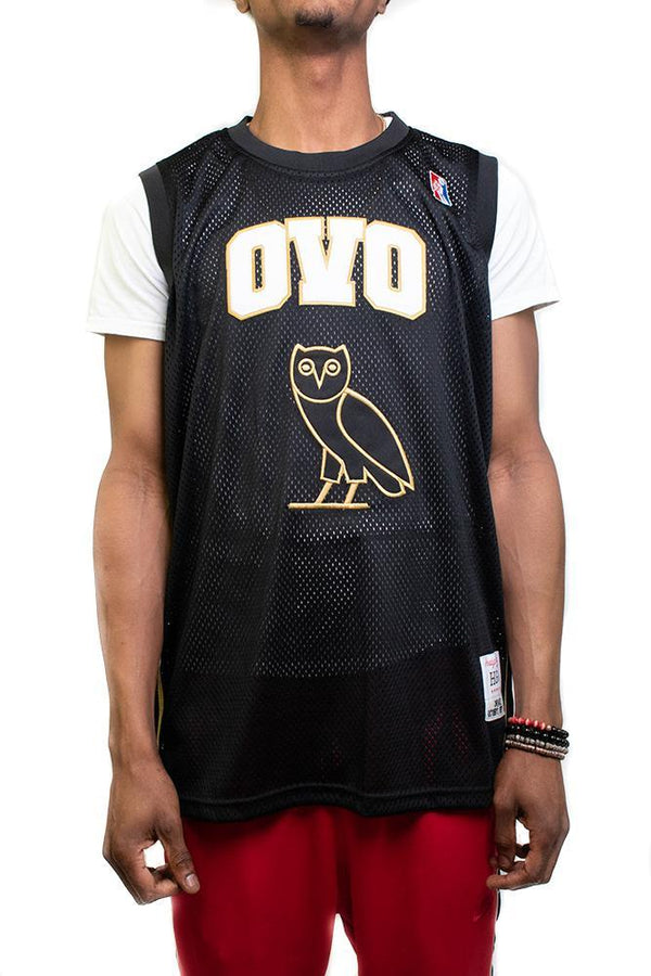 "Headgear-""OVO"" Basketball Jersey-Black/Gold"