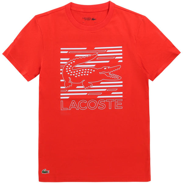 LaCoste-Men's SPORT Ultra-Dry Graphic Tee-Red/White •75S-TH4834