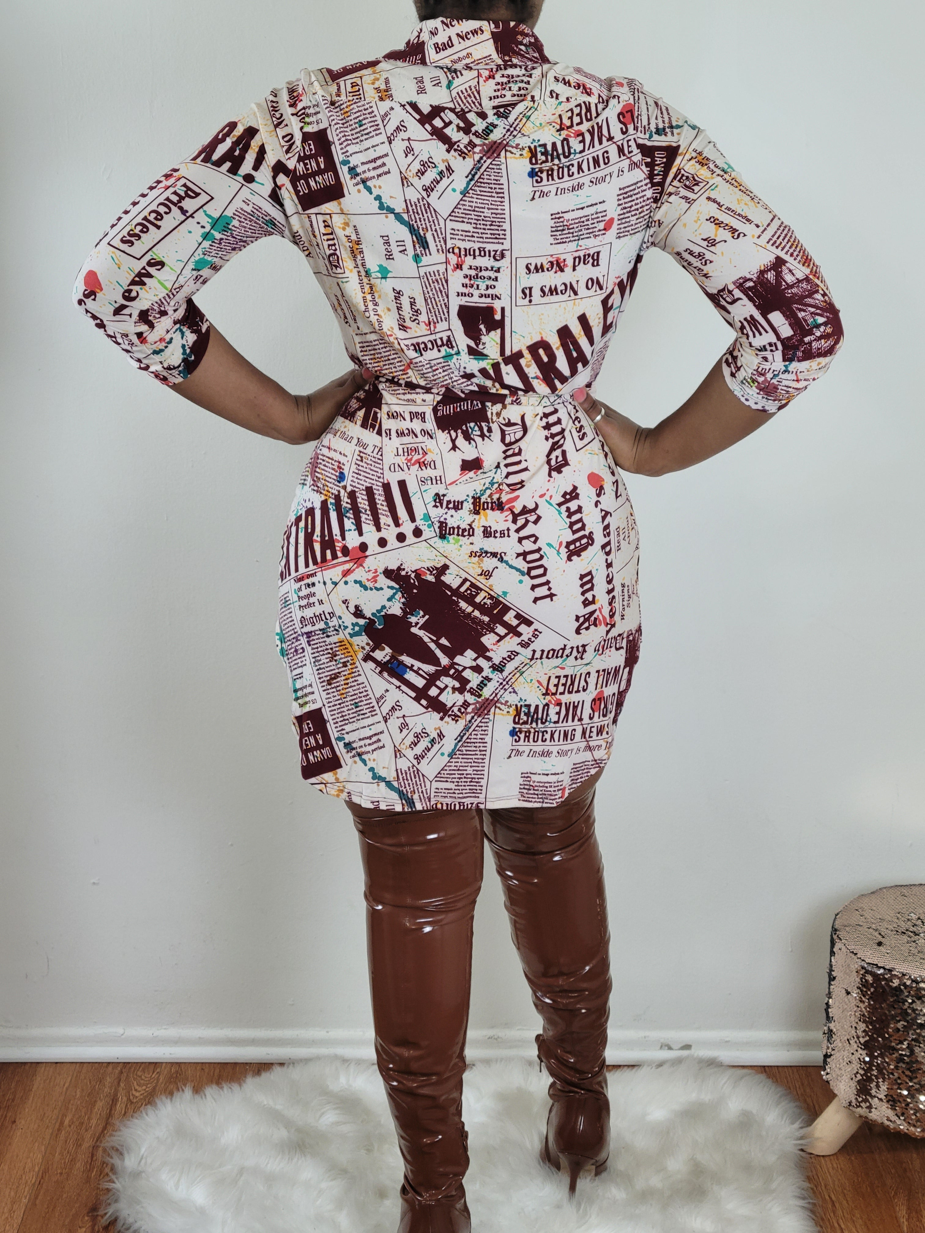 READ ALL ABOUT IT SHIRT DRESS