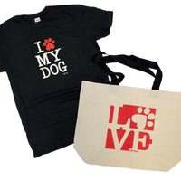 LOVE is a four-legged word tote bag and I Heart My Dog Ring-Spun Cotton T-shirt