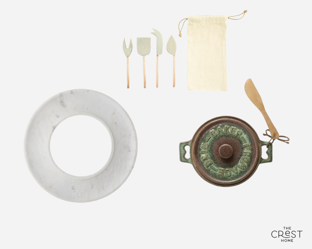 A collage with a round marble tray, a set of four utensils with copper handles, and a green glazed ceramic pot from above, with a wooden spreader attached.