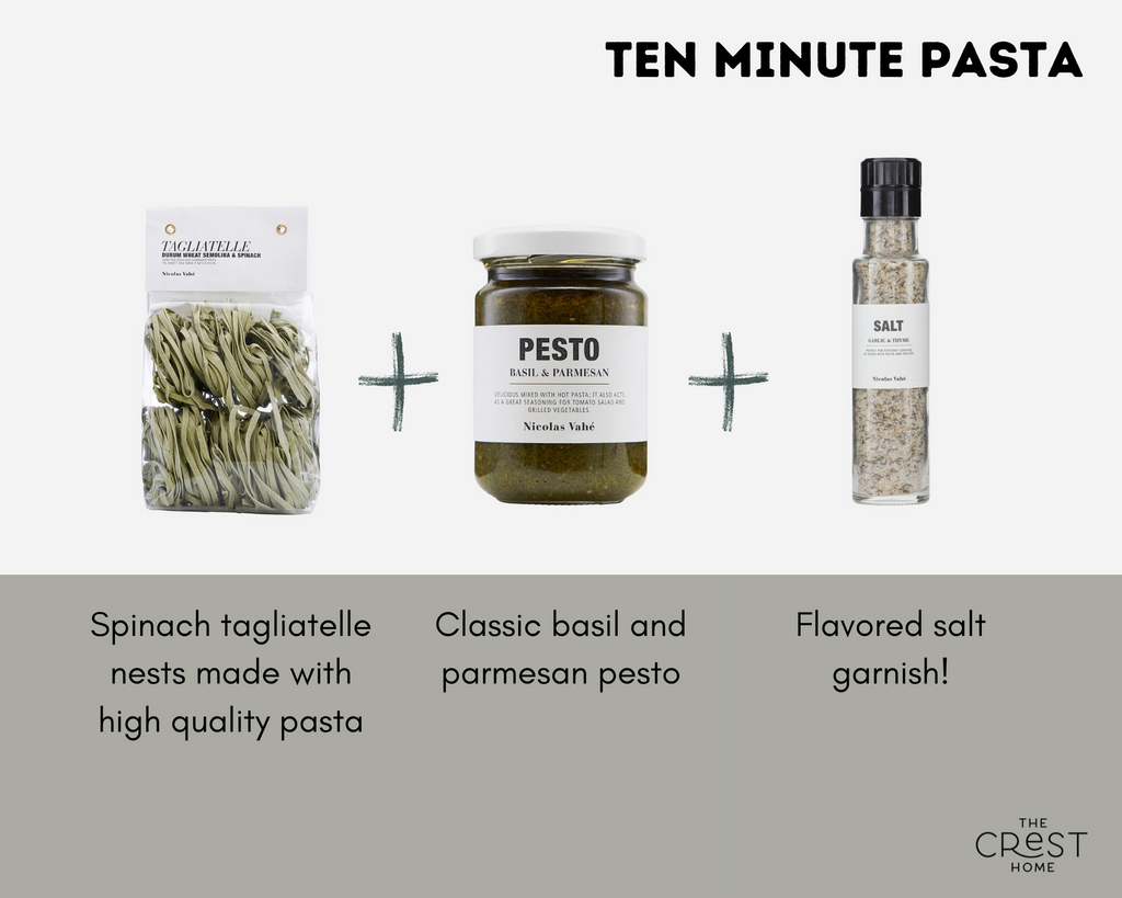 """A bag of green pasta nests, a jar of pesto, and a glass container of salt are on a light grey background, with plus signs between them. The text at the top reads """"ten minute pasta"""". The copy under the pasta reads """"Spinach tagliatelle nests made with high quality pasta"""". The copy under the pesto reads """"Classic basil and parmesan pesto"""". The copy under the salt reads """"Flavored salt garnish!"""""""