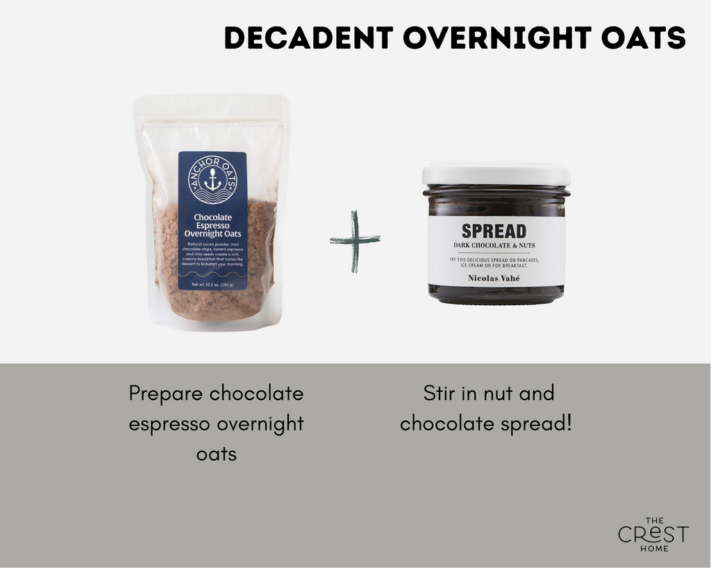 """A bag of brown overnight oats in a bag with a blue label and a jar of a chocolate spread are pictured on a light grey background with a plus in between them. Text at the top reads """"decadent overnight oats"""". Under the oats the copy reads """"Prepare chocolate espresso overnight oats"""". Under the spread it reads """"Stir in nut and chocolate spread!"""""""