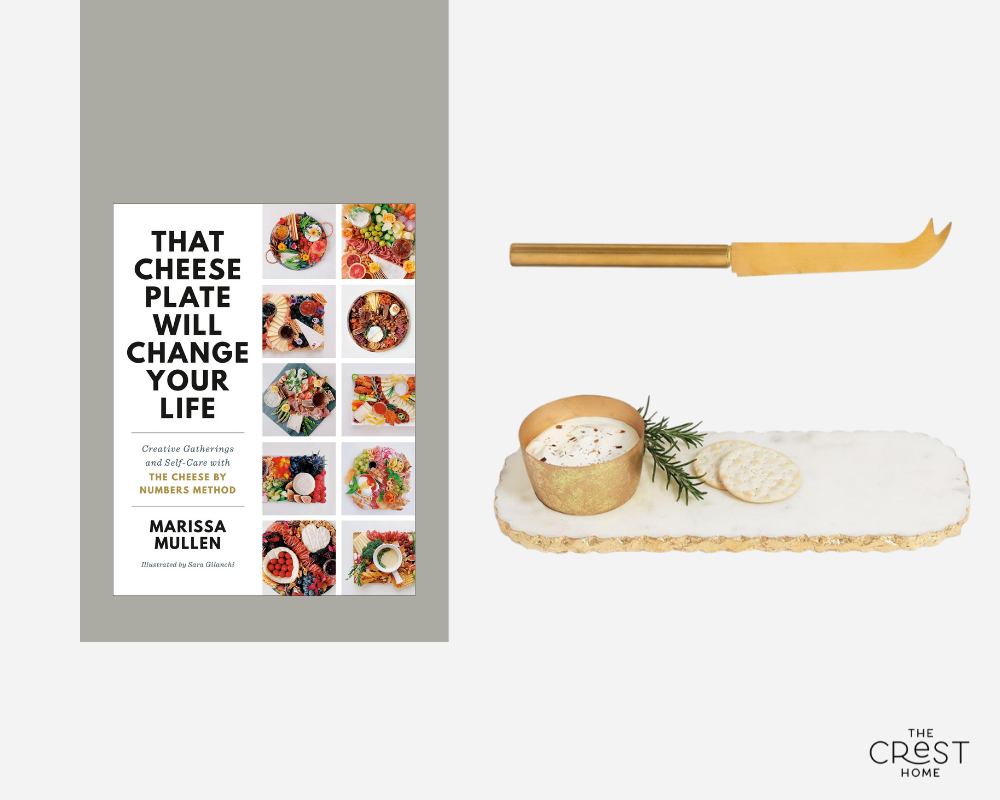A collage with a book cover, a gold cheese knife with pointed end, and a rounded rectangular marble tray with chipped, gold trimmed edges and a gold cup.