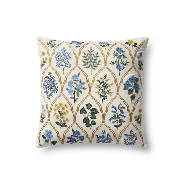 A square white pillow embroidered with different flowers of blue, green, and gold, arranged in a grid. The flowers are separated by embroidered gold arches.