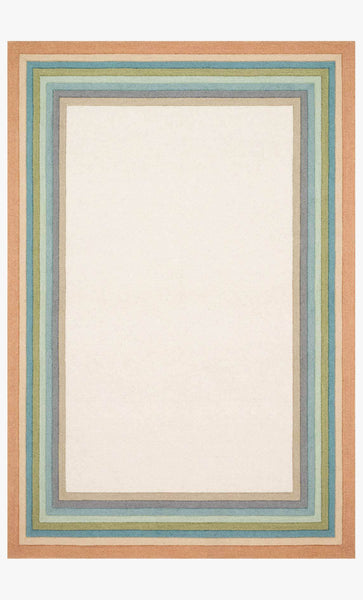 A rectangle line with concentric colored borders around a cream center. From outside in the colors of the border are coral, peach, teal, green, light blue, blue, navy, and tan.