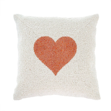 14x14 Heart Beaded Pillow Pillow Indaba