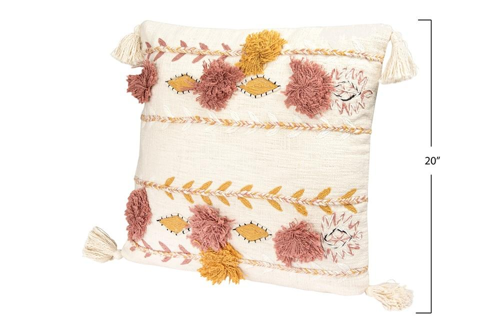 "20"" Cotton Embroidered Pillow with Tassels & Applique Pillow Creative Coop"