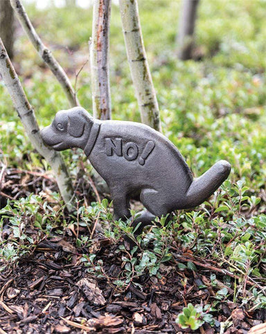 "Cast Iron Dog Yard Stake ""No"" outdoor Creative Coop"