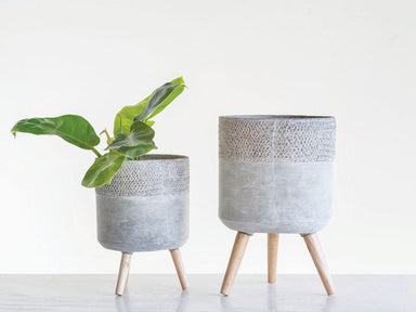 Cement Planters with Removable Wood Legs Planter Creative Coop