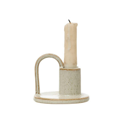 Cream Stoneware Taper Holder with Handle Candle Holder Bloomingville