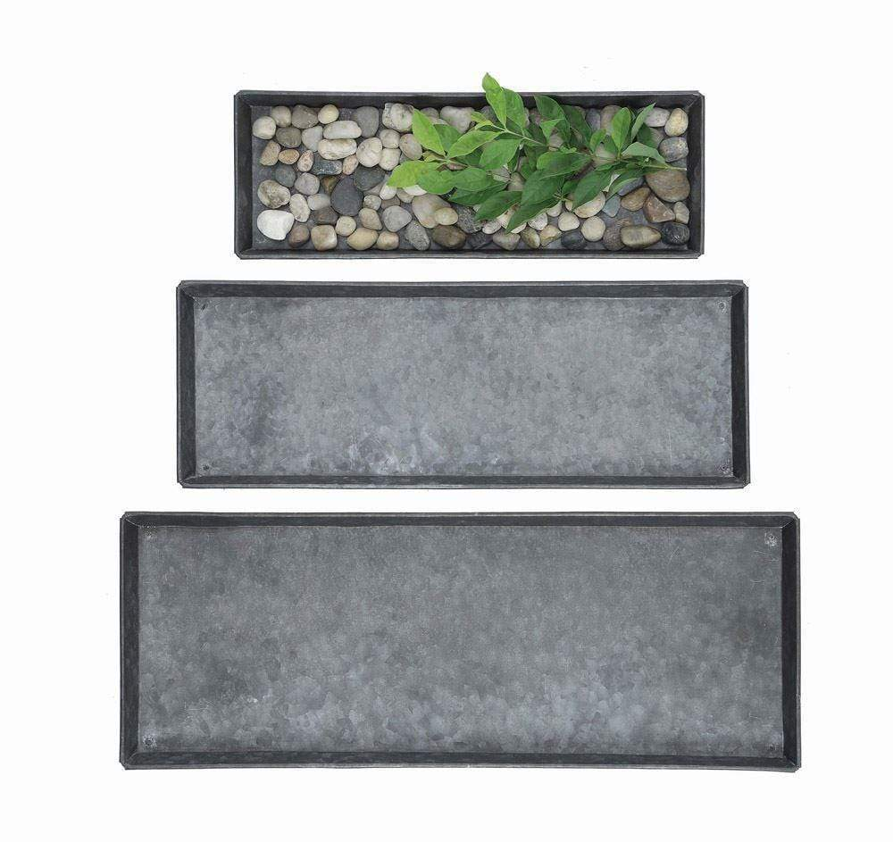 Decorative Zinc Trays - Set of 3 Tray Creative Coop