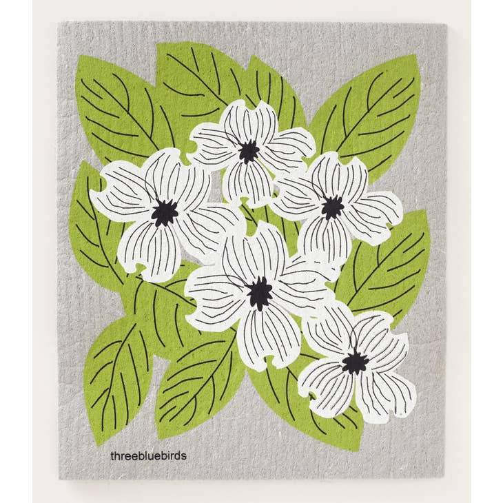 Dogwood on Grey Swedish Dishcloth Swedish Dishcloth ThreeBlueBirds