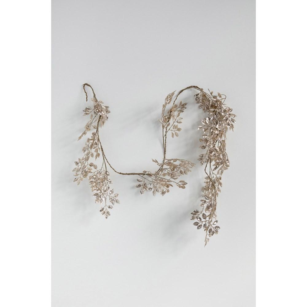 Faux Leaf Garland, Gold Finish Garland Creative Coop
