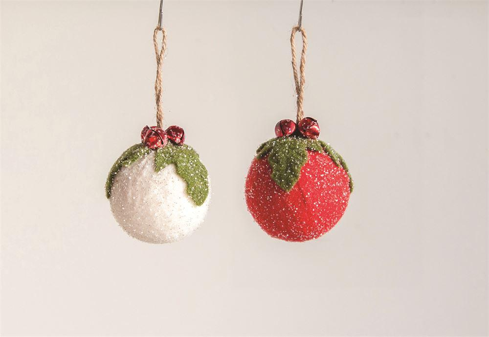 Felt Ball Ornament w/ Holly & Jingle Bells - 2 Colors Ornament Creative Coop