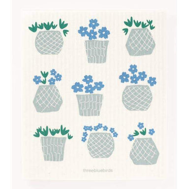Flower Pots on White Swedish Dishcloth Swedish Dishcloth Three Bluebirds