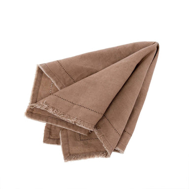 Frayed Edge Napkins Set - Brown Napkin Indaba