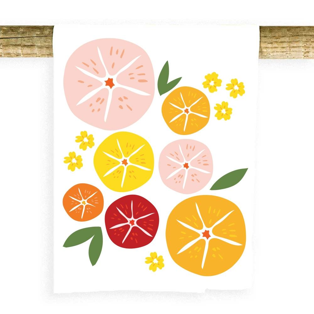 Fruit Slices with Leaves Towel Tea Towel Potluck Press