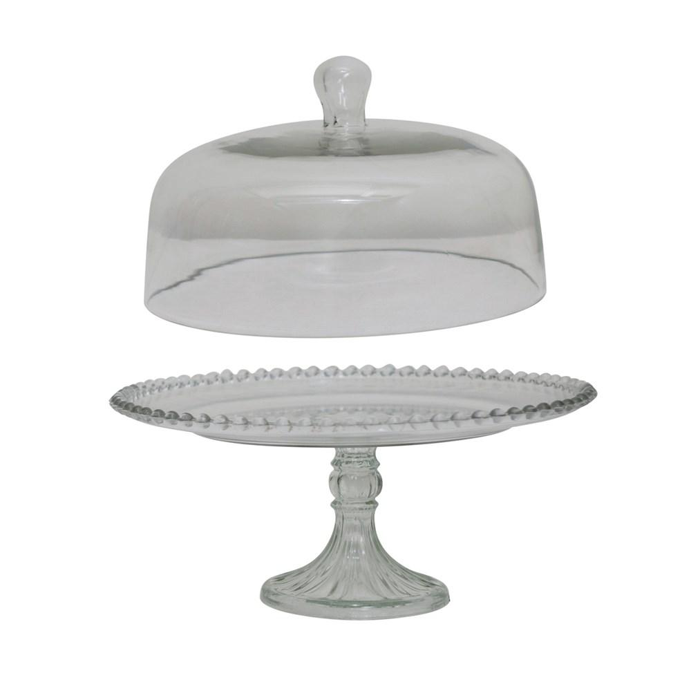 Glass Cake Stand with Hobnail Edge and Cloche Serveware Creative Coop