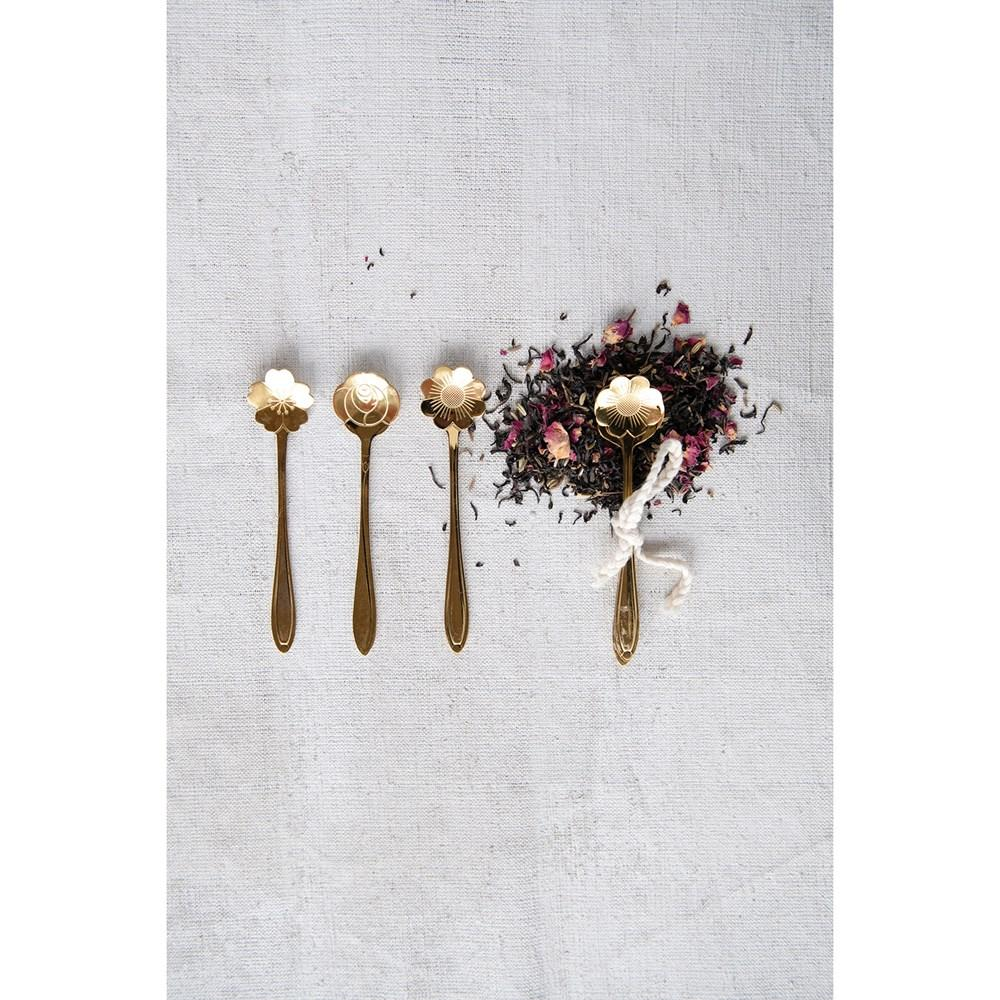 Gold Flower Shaped Spoons, Set of 3 Spoon Creative Coop