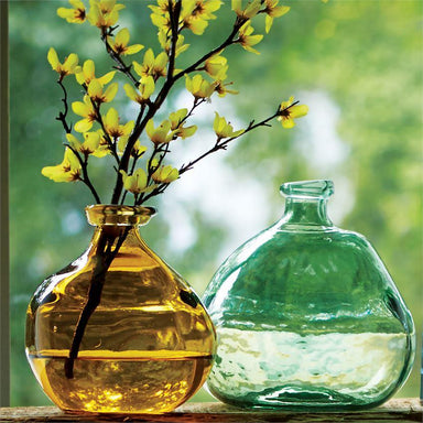 Green & Amber Irregular Glass Vases Vase Mud Pie