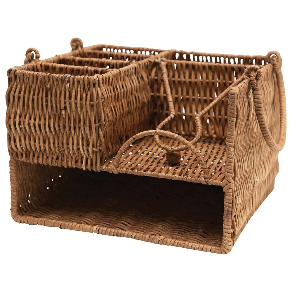 Hand-Woven Rattan Caddy w/ Handles Kitchen Creative Coop