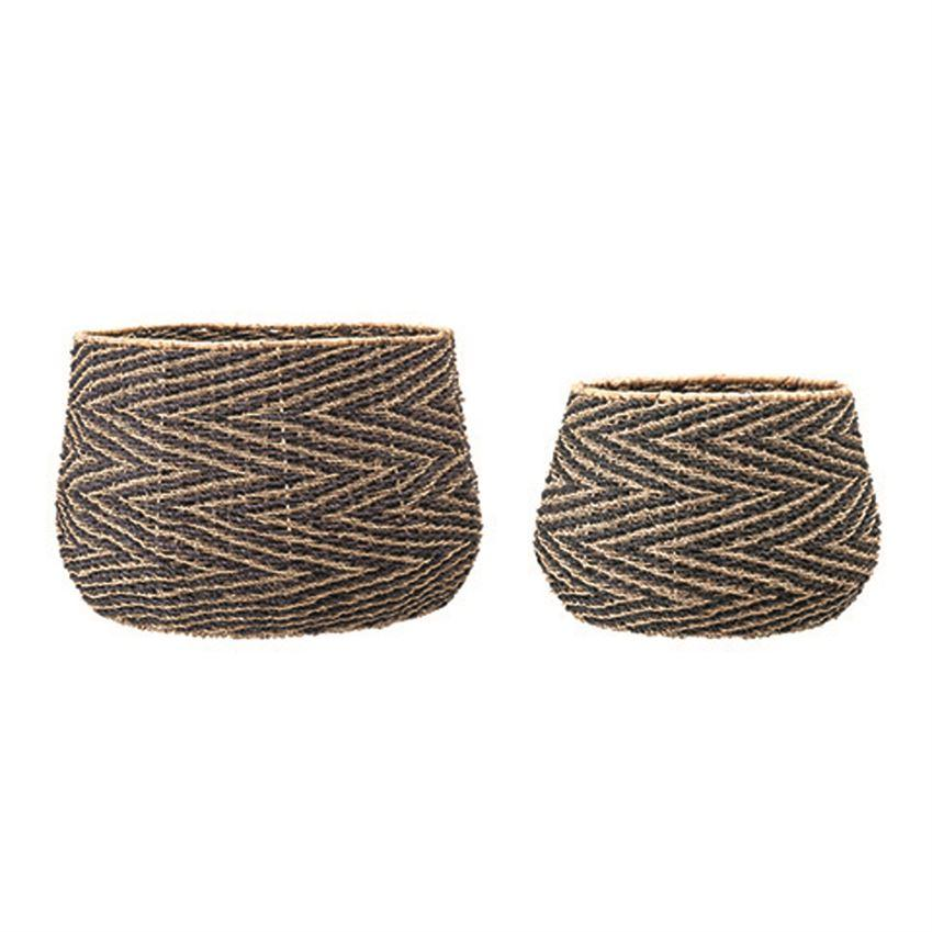 Hand-Woven Seagrass Baskets with Chevron Pattern Basket Bloomingville