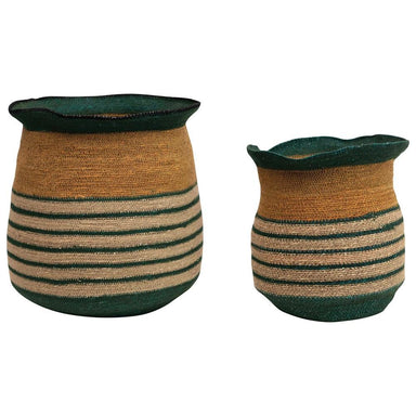 Hand-Woven Seagrass Striped Baskets Basket Creative Coop