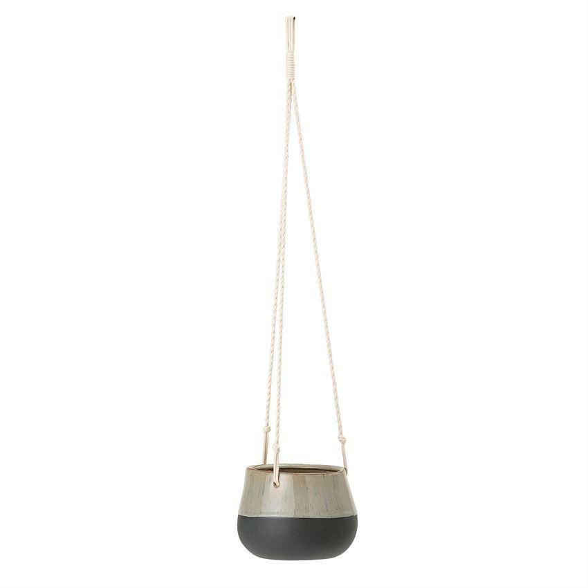 Matte Black & Brown Hanging Stoneware Planter - Large Hanging Planter Bloomingville
