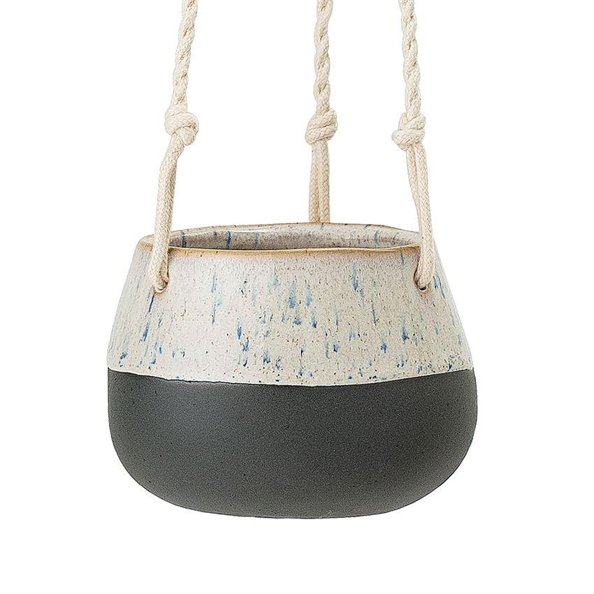 Matte Black & Cream Hanging Stoneware Planter - Small Hanging Planter Bloomingville