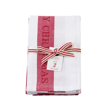 Merry Christmas Striped Dish Towel Set Tea Towel Mud Pie