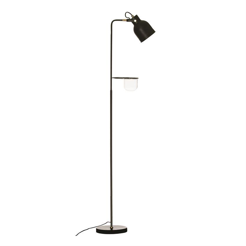 Metal Floor Lamp with Glass Planter Lamp Bloomingville