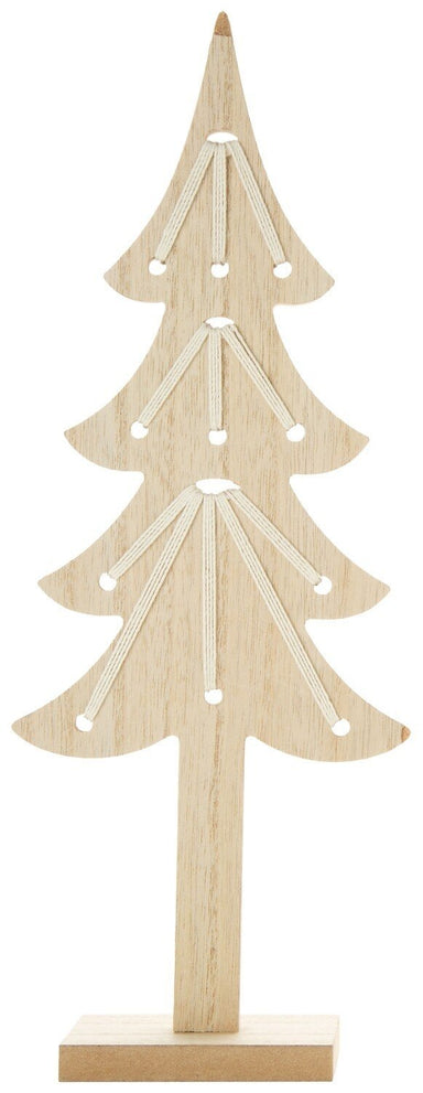 Natural Wood Tree with Cord Christmas Option 2