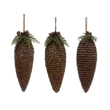 Pinecone Drop Ornament w/ Faux Foliage & Jingle Bells Ornament Creative Coop Large