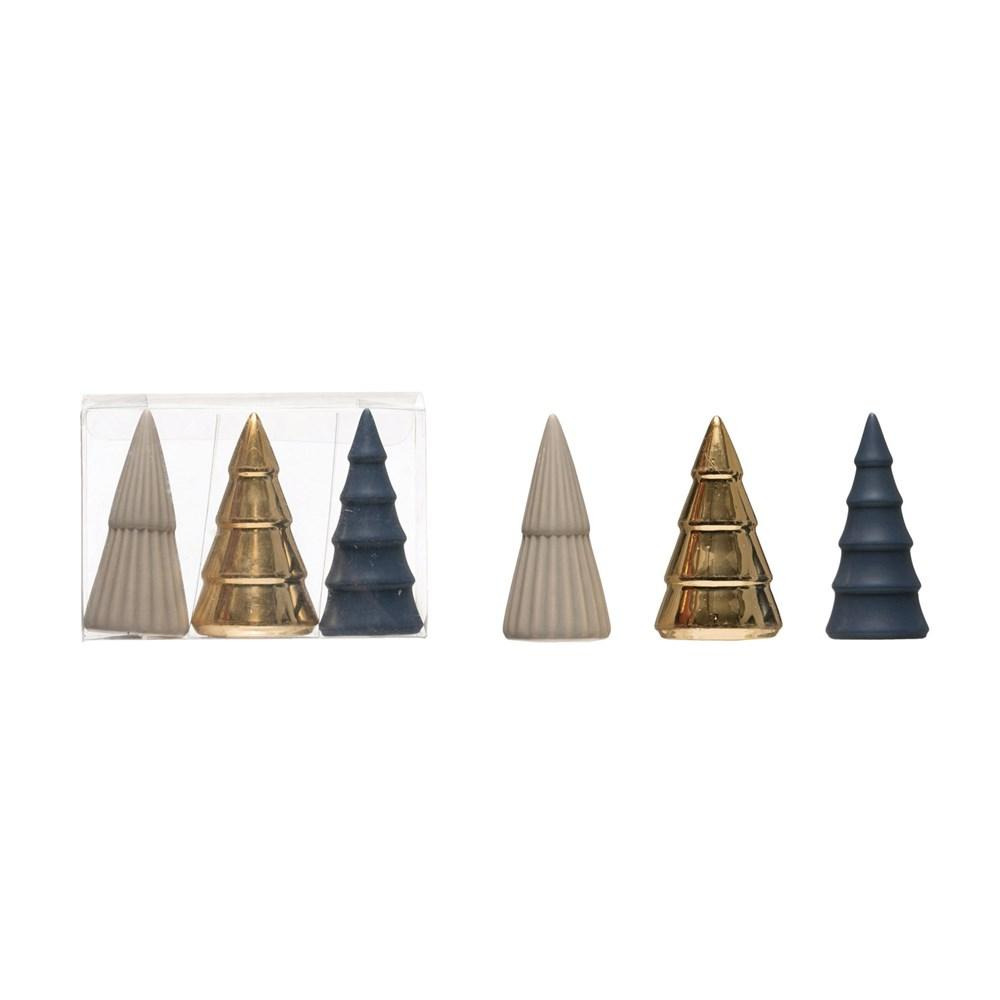 Porcelain Trees, Blue, Grey & Gold, Boxed Set of 3 Christmas Creative Coop