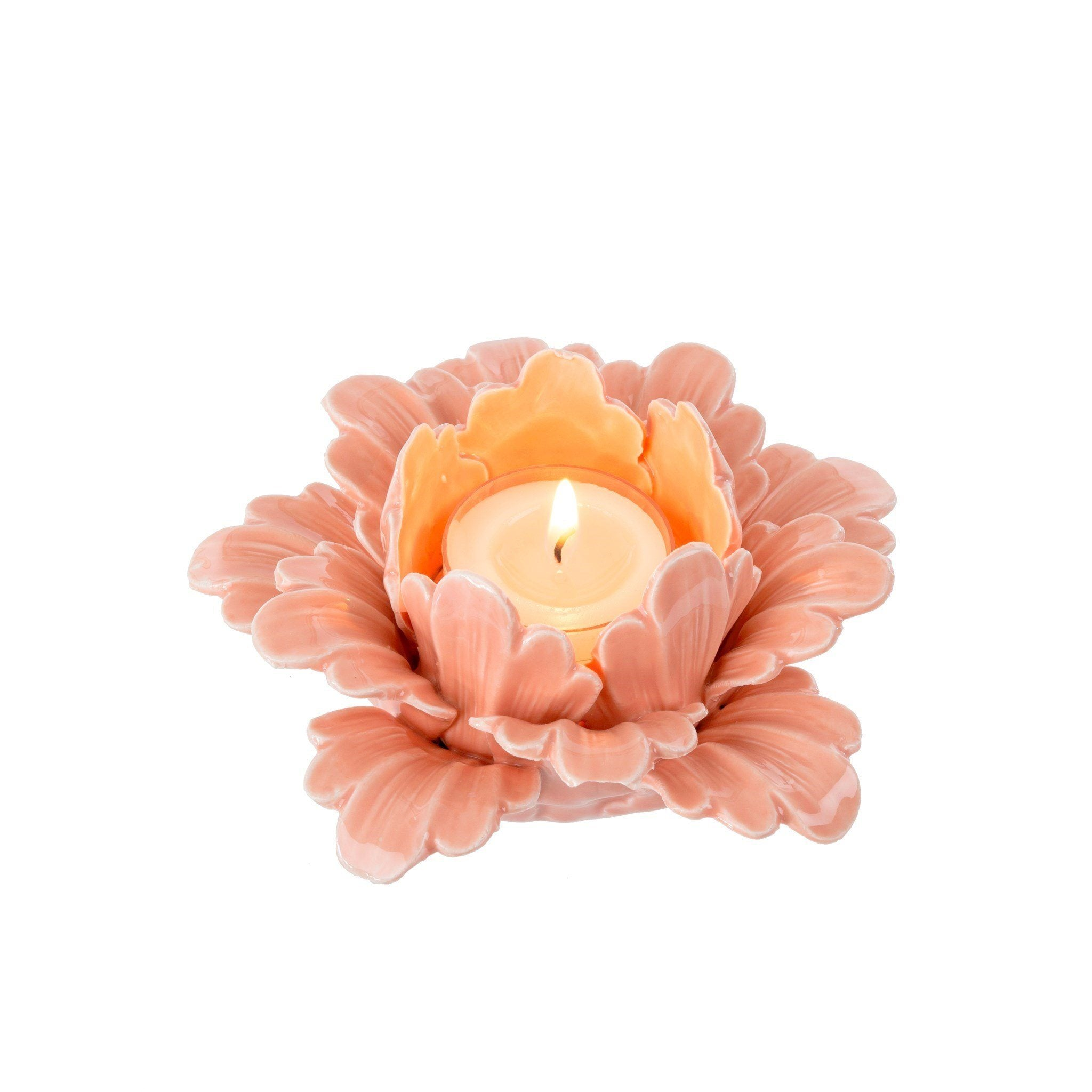 Pretty Petals Tealight in Apricot Candle Holder Indaba