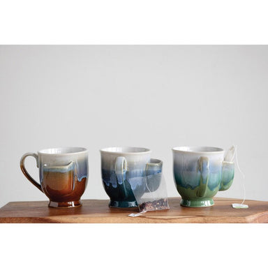 Reactive Glaze Stoneware Mug w/ Tea Bag Holder Mug Creative Coop