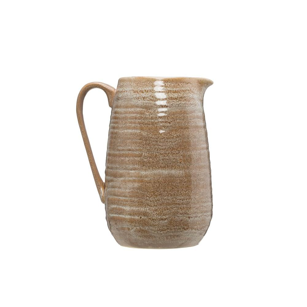 Reactive Glaze Stoneware Pitcher - Putty Color Pitcher Creative Coop