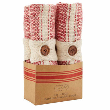 Red Stripe Napkin Set Napkin Mud Pie