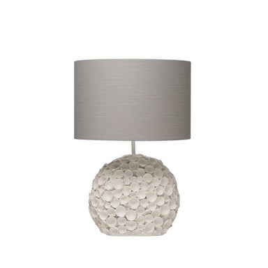Resin Table Lamp w/ Linen Shade, Distressed White Lighting Creative Coop