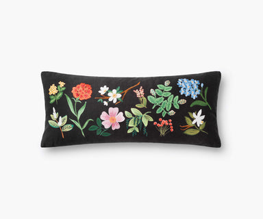 Rifle Paper Co. Black Floral Study Embroidered Pillow Pillow Rifle Paper Co.