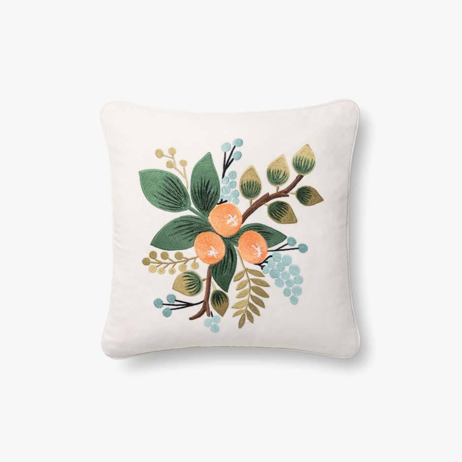 Rifle Paper Co. Botanical Embroidered Pillow - Orange Blossom Pillow Rifle Paper Co.