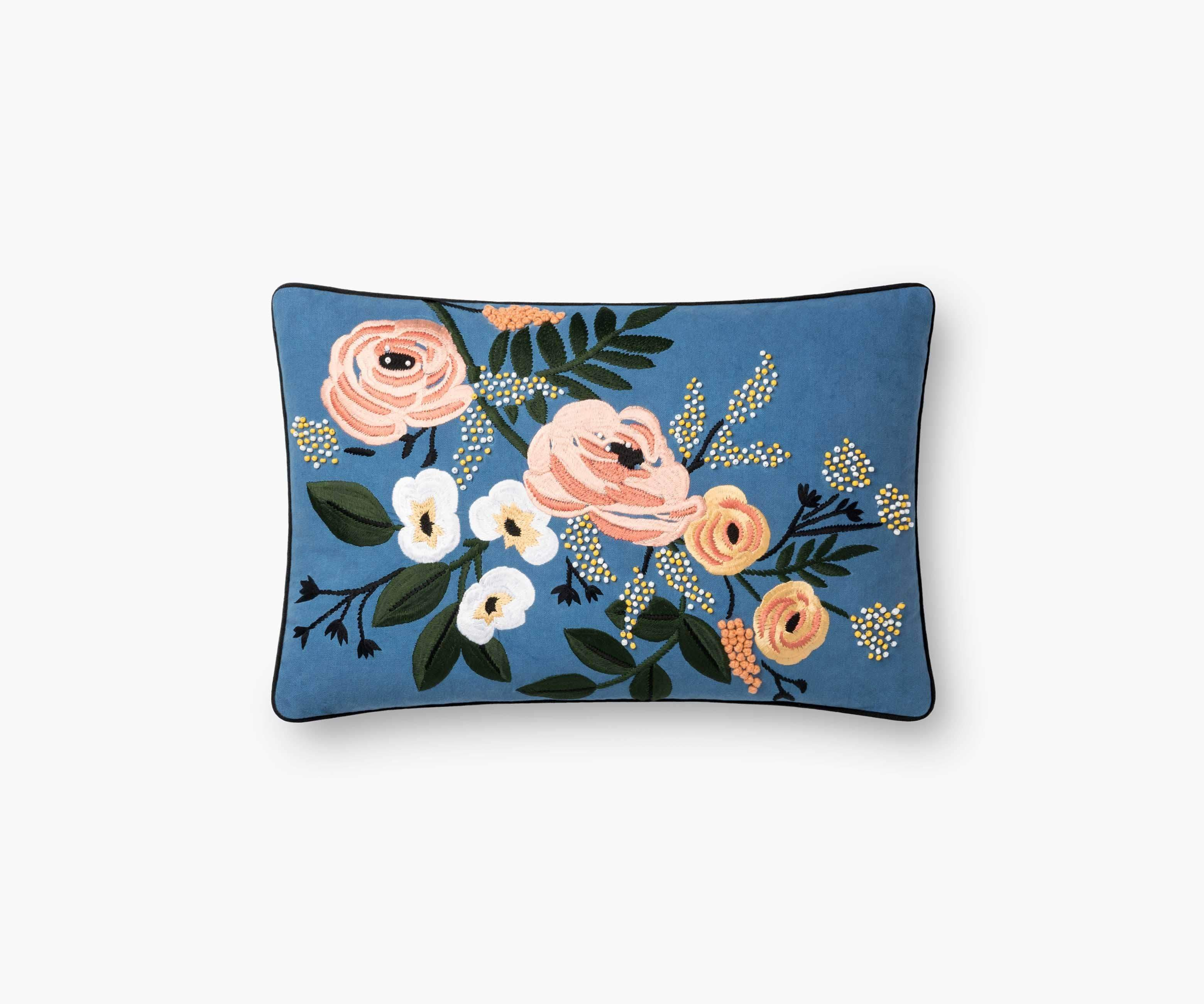 Rifle Paper Co. Floral Embroidered Pillow Pillow Rifle Paper Co.