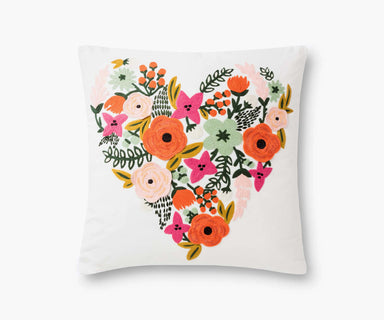 Rifle Paper Co. Floral Heart Embroidered Pillow - Cream Pillow Rifle Paper Co.