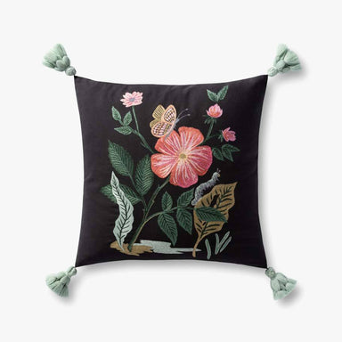 Rifle Paper Co. Flower and Butterfly Embroidered Pillow with Tassels Pillow Rifle Paper Co.